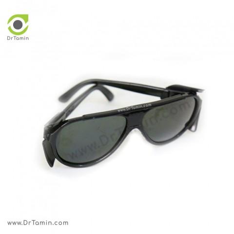 عینک ایمنی شیشه دودی تک پلاست مدل بغل دار3