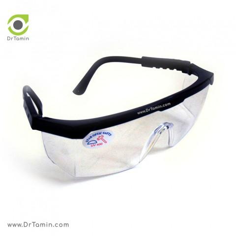 عینک ایمنی یووی سفید تک پلاست