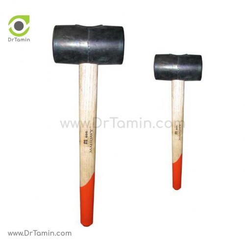 چکش لاستیکی ابزار مهدوی با دسته چوبی وزن