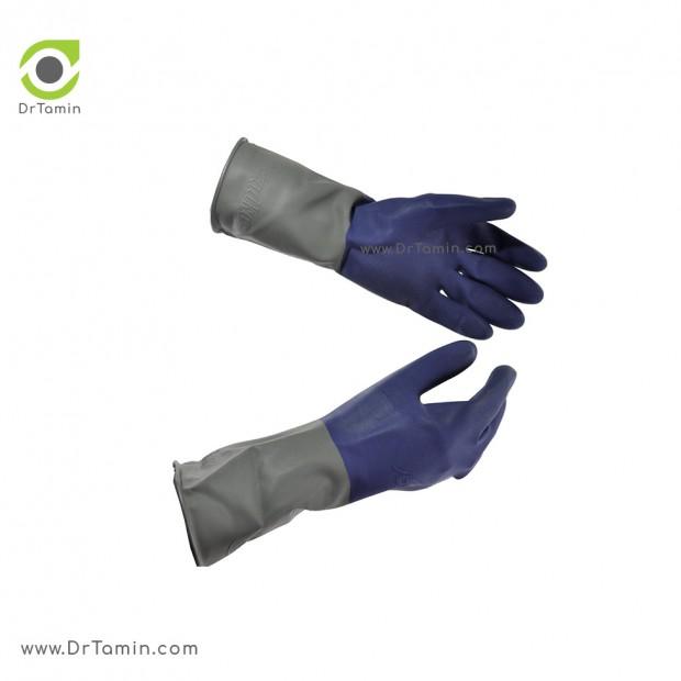 دستکش صنعتی لاتکس دو رنگ استادکار <br> ( 3 لایه)