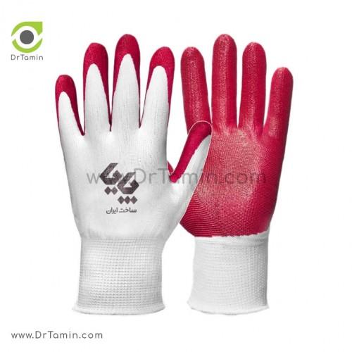 دستکش کف مواد نیتریل پایا سفید قرمز