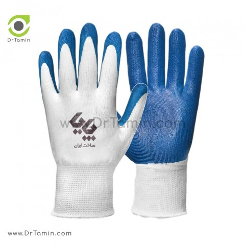 دستکش کف مواد نیتریل پایا سفید آبی