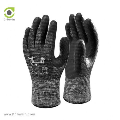 دستکش کف مواد نیتریل شیاری تاپ ملانژ مشکی