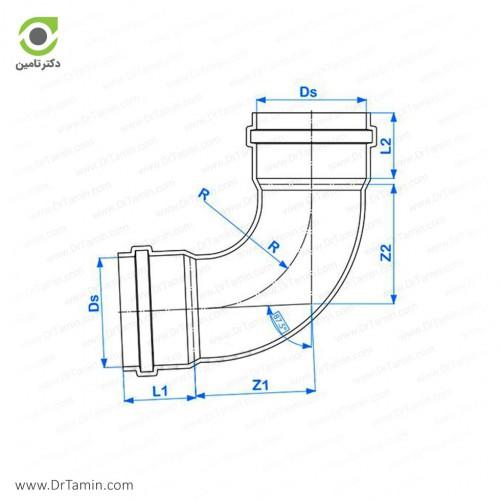 زانو خم 87.5 درجه دوسر کوپله پوش فیت پلیمر گلپایگان