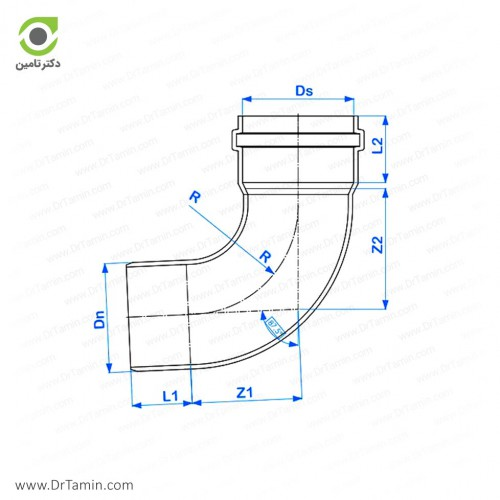 زانو خم 87.5 درجه یکسر کوپله پوش فیت پلیمر گلپایگان