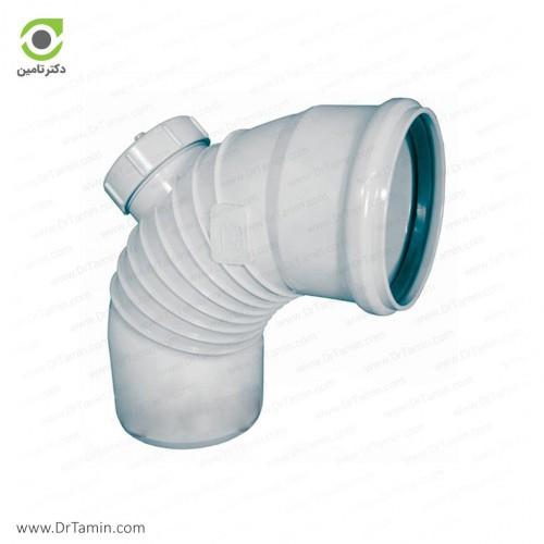 زانو خم دریچه دار 87.5 درجه یکسر کوپله پوش فیت پلیمر گلپایگان
