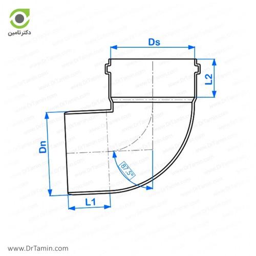 زانو 87.5 درجه یکسر کوپله پوش فیت پلیمر گلپایگان