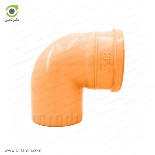 زانو 90 درجه یکسر کوپله نارنجی پوش فیت پلیمر گلپایگان