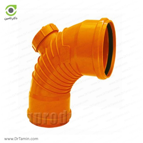 زانو خم دریچه دار 87.5 درجه دوسر کوپله نارنجی پوش فیت پلیمر گلپایگان