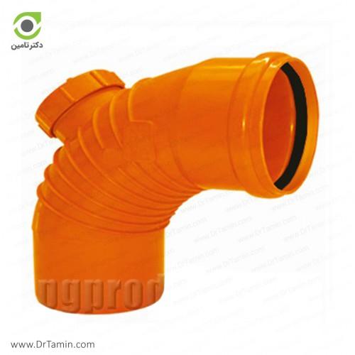 زانو خم دریچه دار 87.5 درجه یکسر کوپله نارنجی پوش فیت پلیمر گلپایگان