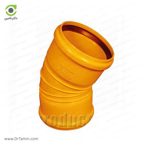زانو 30 درجه دوسر کوپله نارنجی پوش فیت پلیمر گلپایگان