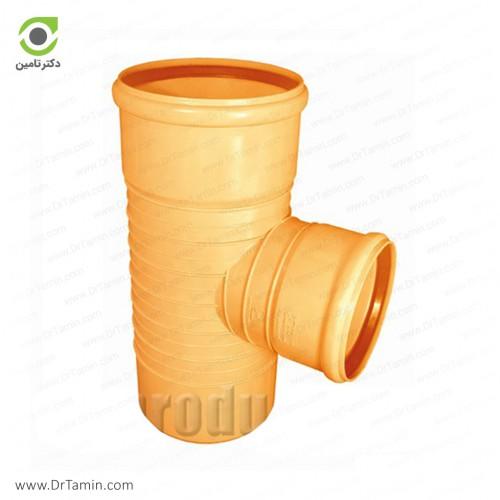 سه راهی تبدیل 90 درجه دو سر کوپله نارنجی پوش فیت پلیمر گلپایگان