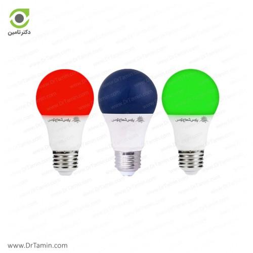 لامپ LED رنگی پارس شعاع توس مدل حبابی 9 وات