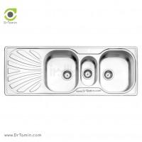 سینک فانتزی توکار استیل البرز مدل 530/50 <br> ( ابعاد 50×132.5 سانتیمتر)