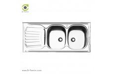 سینک ظرفشویی روکار ایلیا استیل مدل 1010 (ابعاد 60×120 سانتیمتر)