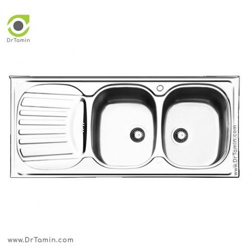 سینک ظرفشویی روکار ایلیا استیل مدل 1010 <br> ( ابعاد 60×120 سانتیمتر)