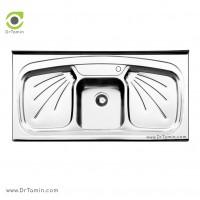سینک ظرفشویی روکار ایلیا استیل مدل 1011 <br> ( ابعاد 60×120 سانتیمتر)