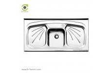 سینک ظرفشویی روکار ایلیا استیل مدل 1011 (ابعاد 60×120 سانتیمتر)