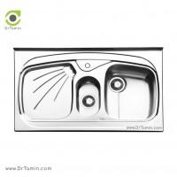 سینک ظرفشویی روکار ایلیا استیل مدل 1012 <br> ( ابعاد 60×100 سانتیمتر)