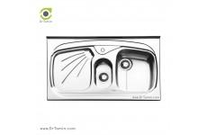 سینک ظرفشویی روکار ایلیا استیل مدل 1012 (ابعاد 60×100 سانتیمتر)