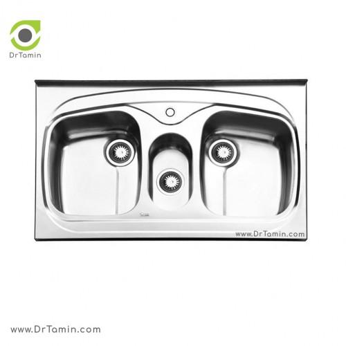 سینک ظرفشویی روکار ایلیا استیل مدل 1014 <br> ( ابعاد 60×100 سانتیمتر)