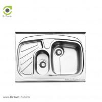 سینک ظرفشویی روکار ایلیا استیل مدل 1018 <br> ( ابعاد 60×80 سانتیمتر)