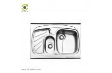 سینک ظرفشویی روکار ایلیا استیل مدل 1018 (ابعاد 60×80 سانتیمتر)