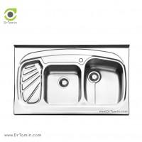 سینک ظرفشویی روکار ایلیا استیل مدل 1020 <br> ( ابعاد 60×100 سانتیمتر)