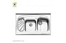 سینک ظرفشویی روکار ایلیا استیل مدل 1020 (ابعاد 60×100 سانتیمتر)