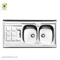 سینک ظرفشویی روکار ایلیا استیل مدل 1021 <br> ( ابعاد 60×120 سانتیمتر)