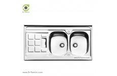 سینک ظرفشویی روکار ایلیا استیل مدل 1021 (ابعاد 60×120 سانتیمتر)