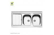 سینک ظرفشویی روکار ایلیا استیل مدل 1024 (ابعاد 60×120 سانتیمتر)