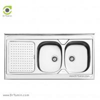 سینک ظرفشویی روکار ایلیا استیل مدل 1025 <br> ( ابعاد 60×120 سانتیمتر)