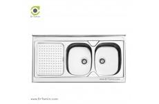 سینک ظرفشویی روکار ایلیا استیل مدل 1025 (ابعاد 60×120 سانتیمتر)