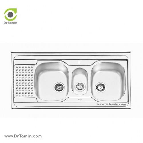 سینک ظرفشویی روکار ایلیا استیل مدل 1026 <br> ( ابعاد 60×120 سانتیمتر)
