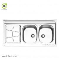 سینک ظرفشویی روکار ایلیا استیل مدل 1030 <br> ( ابعاد 60×120 سانتیمتر)