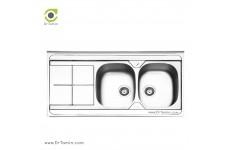 سینک ظرفشویی روکار ایلیا استیل مدل 1041 (ابعاد 60×120 سانتیمتر)