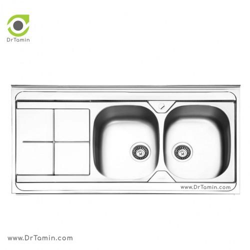 سینک ظرفشویی روکار ایلیا استیل مدل 1041 <br> ( ابعاد 60×120 سانتیمتر)