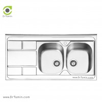 سینک ظرفشویی روکار ایلیا استیل مدل 1042 <br> ( ابعاد 60×120 سانتیمتر)