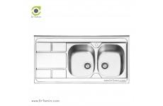 سینک ظرفشویی روکار ایلیا استیل مدل 1042 (ابعاد 60×120 سانتیمتر)
