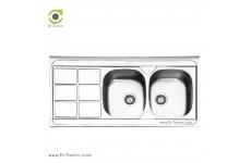 سینک ظرفشویی روکار ایلیا استیل مدل 1043 (ابعاد 60×120 سانتیمتر)
