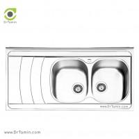 سینک ظرفشویی روکار ایلیا استیل مدل 1044 <br> ( ابعاد 60×120 سانتیمتر)