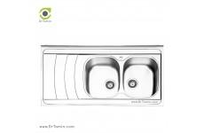 سینک ظرفشویی روکار ایلیا استیل مدل 1044 (ابعاد 60×120 سانتیمتر)