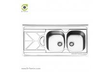 سینک ظرفشویی روکار ایلیا استیل مدل 1045 (ابعاد 60×120 سانتیمتر)