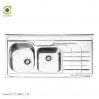 سینک ظرفشویی روکار ایلیا استیل مدل 1047 <br> ( ابعاد 60×120 سانتیمتر)