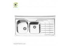 سینک ظرفشویی روکار ایلیا استیل مدل 1047 (ابعاد 60×120 سانتیمتر)