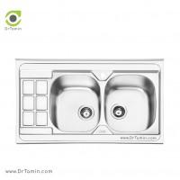 سینک ظرفشویی روکار ایلیا استیل مدل 1053 <br> ( ابعاد 60×100 سانتیمتر)