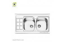 سینک ظرفشویی روکار ایلیا استیل مدل 1053 (ابعاد 60×100 سانتیمتر)