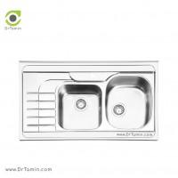 سینک ظرفشویی روکار ایلیا استیل مدل 1057 <br> ( ابعاد 60×100 سانتیمتر)