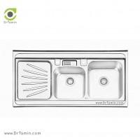 سینک ظرفشویی روکار ایلیا استیل مدل 1061 <br> ( ابعاد 60×120 سانتیمتر)